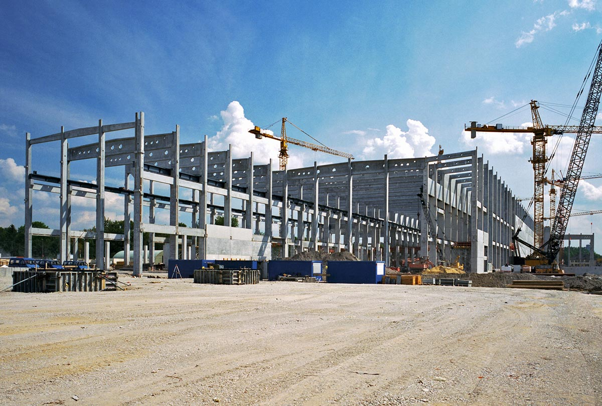 Industrial construction project steel framing